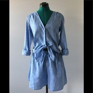 NWT GAP chambray romper with front tie